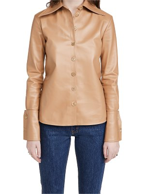 A.W.A.K.E MODE faux leather shirt with cuff detail