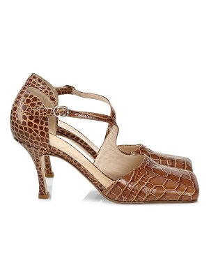 A.W.A.K.E. Mode mary asymmetric croc-embossed sandals