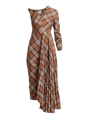A.W.A.K.E. Mode pleated asymmetric plaid dress