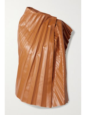 A.W.A.K.E. Mode pleated faux leather top