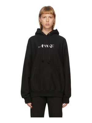 Awake NY ssense exclusive black embroidered logo hoodie
