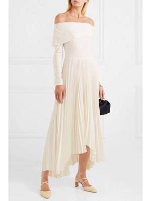 A.W.A.K.E. off-the-shoulder pleated crepe de chine maxi dress