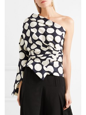 A.W.A.K.E. one-shoulder polka-dot twill top