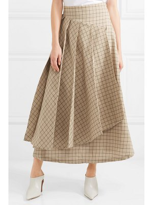 A.W.A.K.E. pleated checked cotton midi skirt