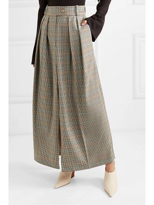 A.W.A.K.E. pleated checked wool skirt