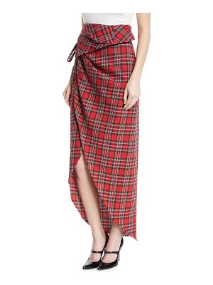 A.W.A.K.E. Raw-Edge Tartan Plaid Skirt