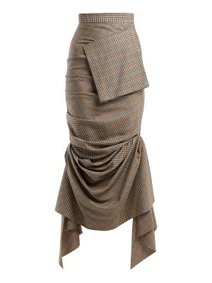 A.W.A.K.E. Ruched checked wool skirt