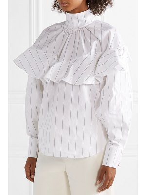 A.W.A.K.E. ruffled pinstriped cotton-poplin blouse