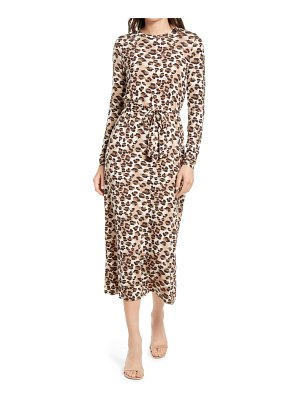 AWARE BY VERO MODA nava leopard jersey long sleeve dress