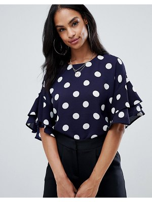 AX Paris 3/4 sleeve polka dot top