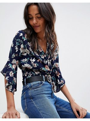 AX Paris floral crop top with flute sleeve