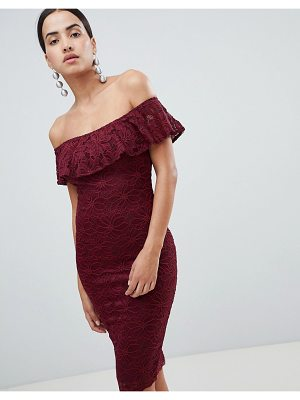 AX Paris Bardot Frill Overlay Lace Midi Dress