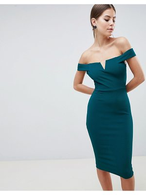 AX Paris Bardot Pencil Dress With Cut Out V Detail