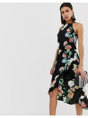 AX Paris floral midi dress-black