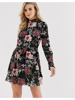 AX Paris floral print shift dress-black