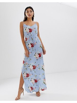 AX Paris floral thigh split maxi-blue