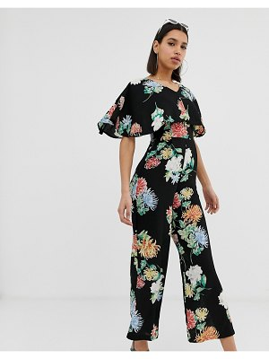 AX Paris floral wide leg jumpsuit-black