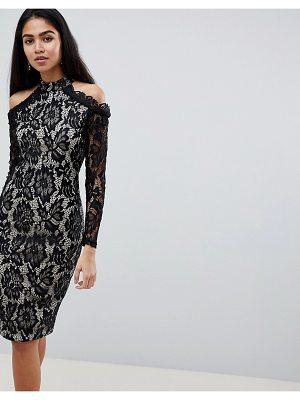 AX Paris Long Sleeve Lace Pencil Dress With Cold Shoulder