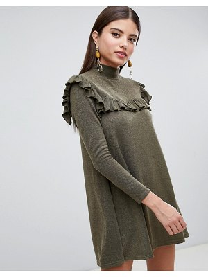 AX Paris Long Sleeve Sweater Dress With Frill Detail