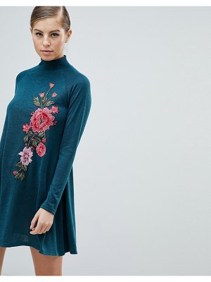 AX Paris Long Sleeve Swing Dress With Embroidered Detail
