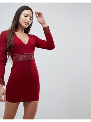 AX Paris Long Sleeve V Neck Dress With Lace Detail