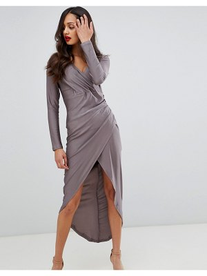 AX Paris long sleeve wrap dress with ruched detail