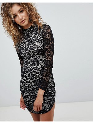 AX Paris Long Sleve Contrast Lace Bodycon Dress
