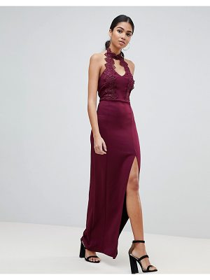 AX Paris Maxi Dress With Lace Detail & Side Split