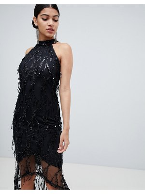AX Paris racer neck midi dress with fringed sequin detail