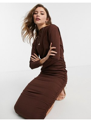 AX Paris ruched off shoulder midi pencil dress in chocolate-brown