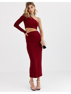AYM Studio aym premium bodycon midaxi skirt coord in berry-red