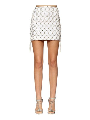 AZZARO Embellished wool twill mini skirt