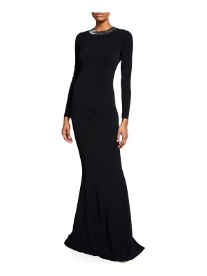 AZZARO Embroidered Back-Cutout Gown