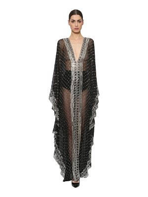 AZZARO Embroidered silk chiffon caftan gown