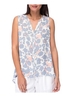 B Collection by Bobeau Back Pleated Floral Top