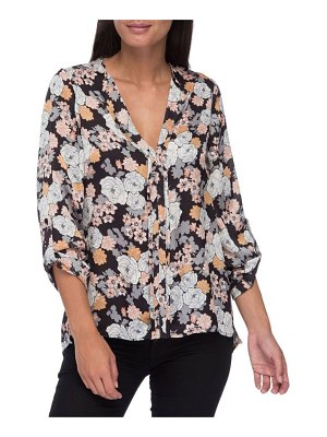 B Collection by Bobeau Cristy Pleat-Back Floral-Print Blouse