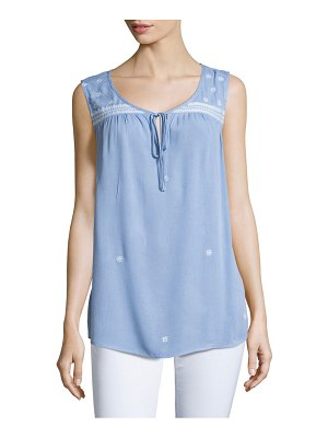 B Collection by Bobeau Embroidered Crepe Top