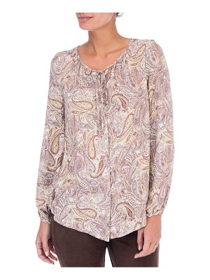 B Collection by Bobeau Paisley Print Tie Neck Blouse