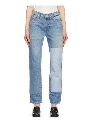B SIDES blue arts straight patchwork no. 2 jeans