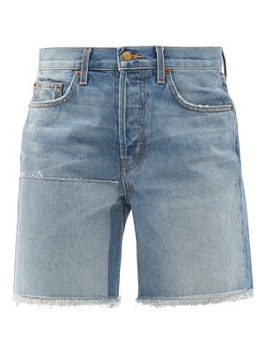 B SIDES cut-off upcycled patchwork denim shorts