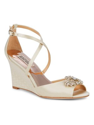 Badgley Mischka Abigail Satin Embellished Wedge Sandals