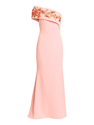 Badgley Mischka asymmetrical floral embroidered column gown