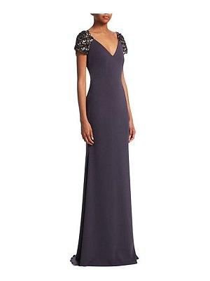 Badgley Mischka beaded cap-sleeve gown