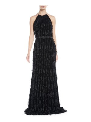 Badgley Mischka Beaded Fringe Halter Gown