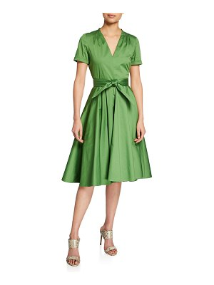 Badgley Mischka Belted V-Neck A-Line Short-Sleeve Dress