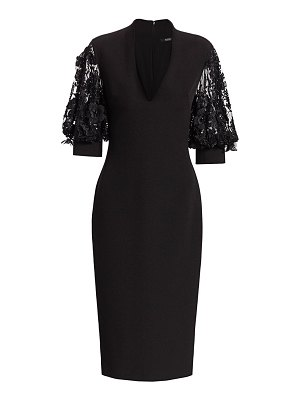 Badgley Mischka bubble sleeve combo sheath dress