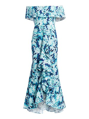 Badgley Mischka cascading ruffle print dress