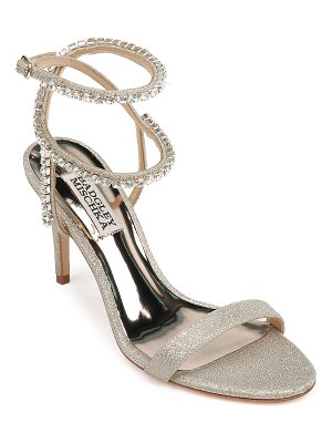 Badgley Mischka Claudette Ankle-Wrap Glitter Cocktail Sandals