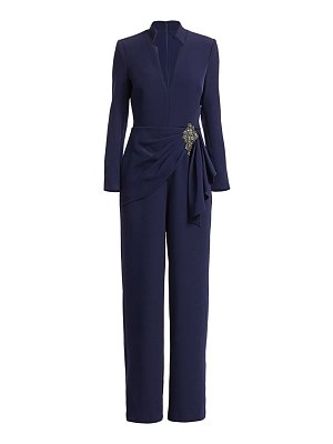 Badgley Mischka collared brooch wrap jumpsuit