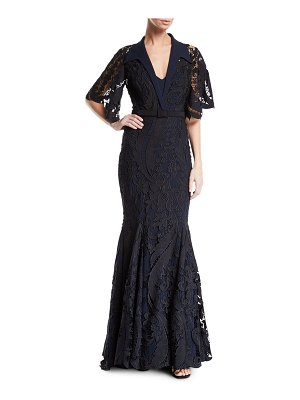 Badgley Mischka Couture Collared Floral Lace Mermaid Gown